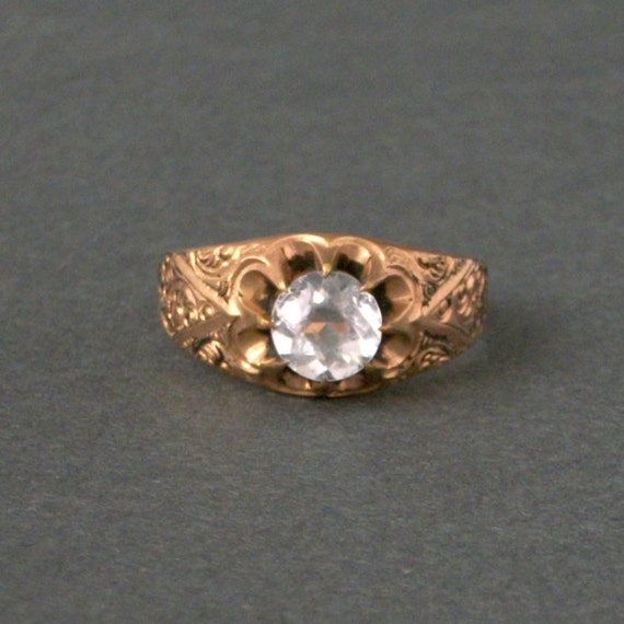 Antique Victorian Mens Ring . Big High, Bright Stone . Furry Chasings .