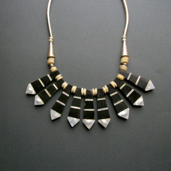 RESERVED / layaway / Tribal Horn Bib Necklace . Mother of Pearl . Bone . Black and White .