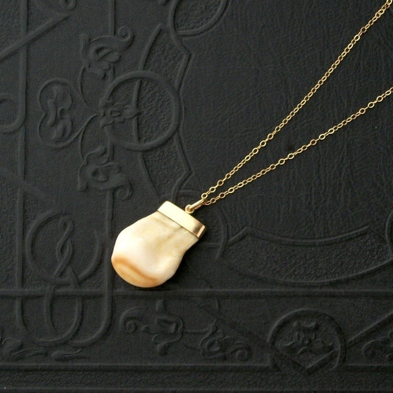 Antique Elk Tooth Charm Necklace.  9K Gold. Fraternal Jewelry.