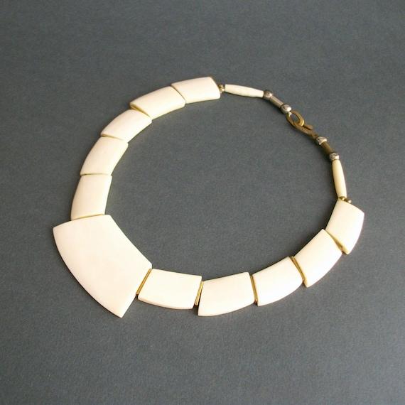 Vintage Bone Necklace . Deco Revival Geometric. 1970s or 80s.
