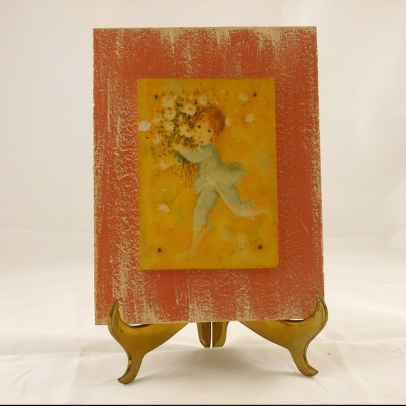 Vintage Child-Like, Decoupage, Distressed, Wall Plaque
