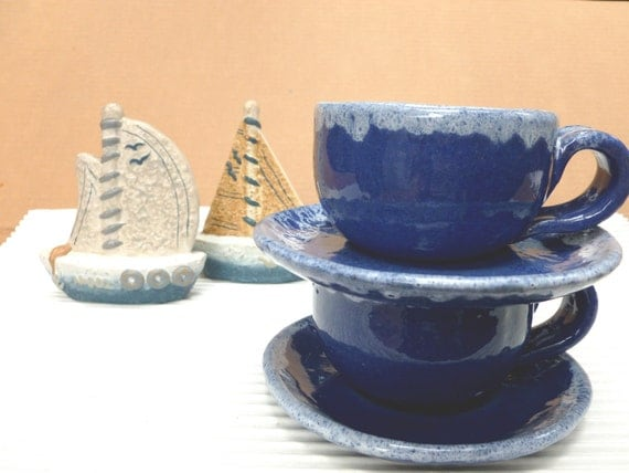 Vintage Handmade Coffee Cups and Saucers