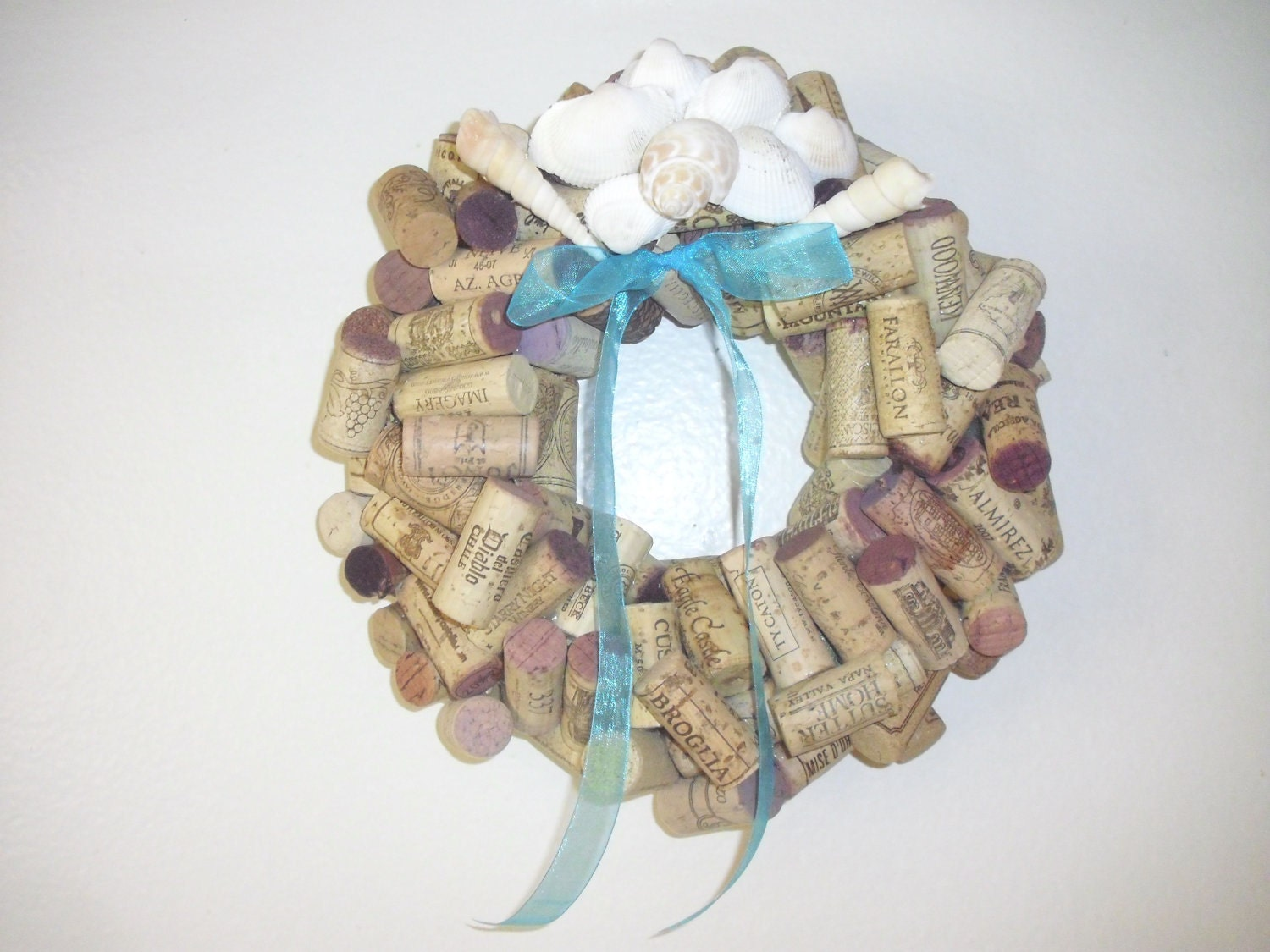 Wine cork wreath with seashells by winecountrycrafters on etsy