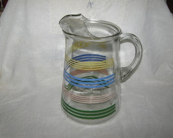 Glass Pitcher Multi Stripe With Ice Lip