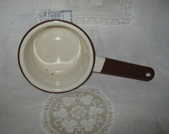 SALE  White and brown enamelware sauce pan
