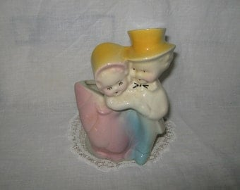 SALE  Pottery planter featuring a happy little couple