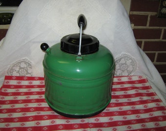 Large thermos, green and black, 1940's