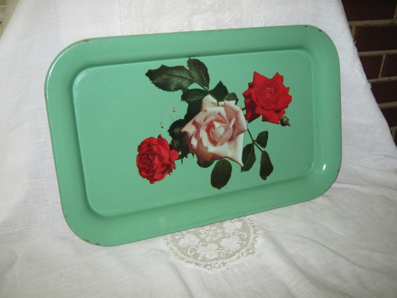 Vintage metal tin serving tray green with roses  TREASURY ITEM