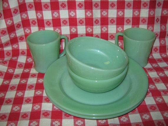 Vintage Fire King jadite, jadeite chili bowls, plates, and mugs  TREASURY ITEM x3