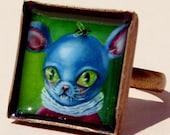 Blue Mouse Big Ears Ring by Ilona Sampovaara