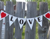 Love Burlap Banner, Bunting, Garland with Red Hearts