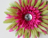Berry-Lime Crazy Daisy hair-clip for girl or baby