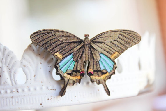 Butterfly Brooch - Wooden Brown & Blue, moth, nature