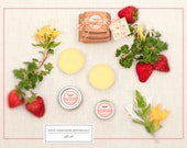 Lip Balm, Perfume, and Lotion Bars - Gift Set, Sweet Strawberry Honeysuckle - Summer Strawberries and Crisp Florals - All Natural