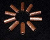 Copper Tube Beads Brushed Finish 3/4 Inch 10 pcs Handmade from Reclaimed Metal, Spacer Beads Raw Copper Jewelry Making Supply Metal Tubes
