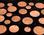 Copper Blanks Discs Circles Coin Beads, 20 Piece 5/8 inch Unfinished Surface With Holes, Pure Solid Copper, Metalworking Supplies, reclaimed