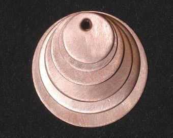 Copper Stamp Blank, Brushed Finish 5 Sizes 50 Pcs, Circles, Coin Blanks, W/ Holes, Handmade in the USA from Earth Friendly Reclaimed Metal