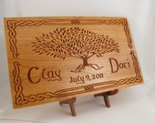 Custom carved wedding or anniversary sign with celtic tree of life art