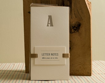 Letter A : Letterpress Notepad / Stationery Set
