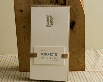 Letter D : Letterpress Notepad / Stationery Set