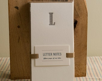 Letter L : Letterpress Notepad / Stationery Set