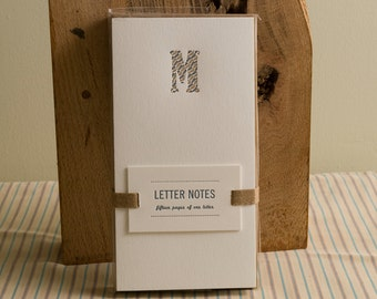 Letter M : Letterpress Notepad / Stationery Set