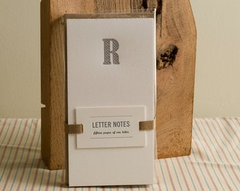 Letter R : Letterpress Notepad / Stationery Set