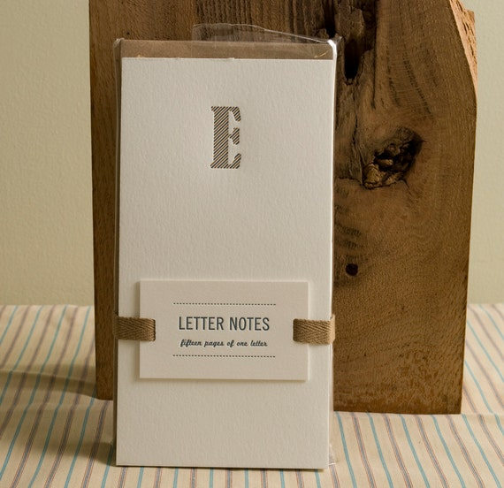 Letter E : Letterpress Notepad / Stationery Set