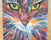 21 Color Cat Blue Original ACEO watercolor painting gouache acrylic ink with display Easel by LinesSix