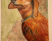 ACEO Doxie Dachshund original watercolor miniature painting pet portrait not a print, by Caroline