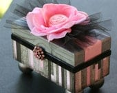 Delicate Pale Pink, Black And Gray Keepsake Wooden Box