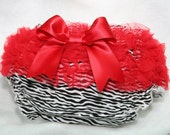 Zebra Print Bloomers, Diaper Cover Adorned With Red Ruffles and A Bow,