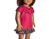 American Girl Doll Clothes -- Ruffled blouse and skirt for American Girl Doll or similar 18 inch doll