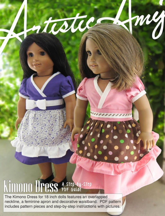 Kimono Dress:  PDF Sewing Pattern for 18 inch doll (like American Girl Doll)