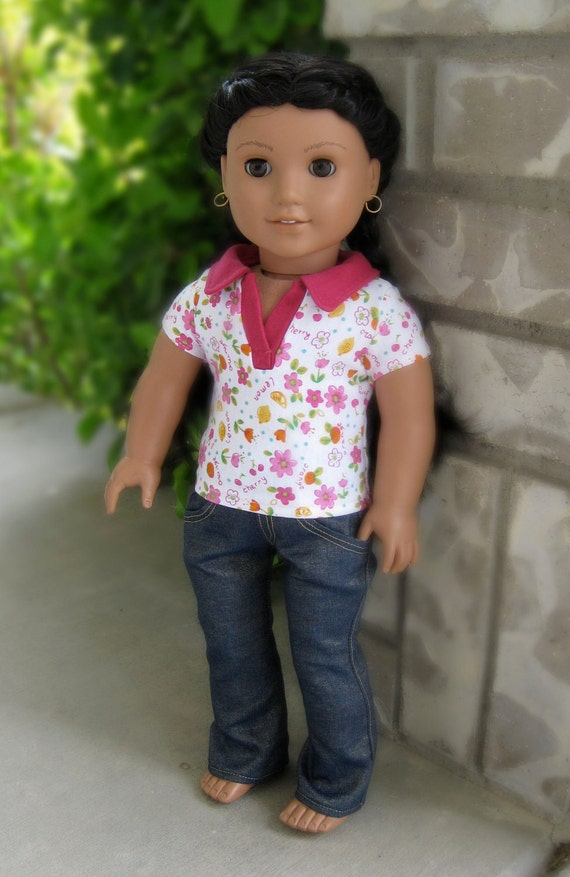 Cute polo shirt with shimmery jeans for American Girl Doll