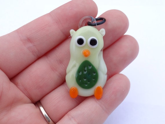 Cute Lime and Clover Green Owl - Glass Pendant