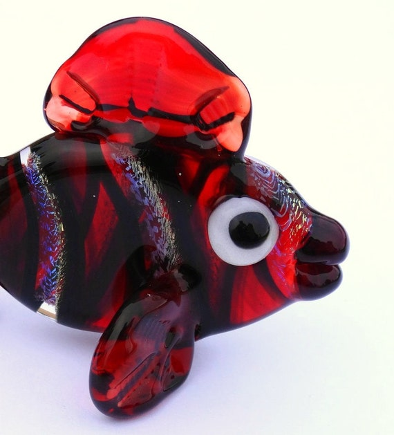 Transparent Ruby Red and Dichroic Fish Glass Sculpture