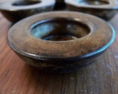 Circular Concrete Tea Light Holder. Sepia. Set of Four.