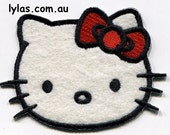 1 hello kitty cat kitten iron on embroidered fabric applique patch no sew