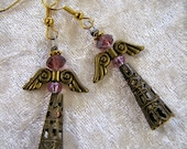 Bronze and amethyst angel bead charm earrings