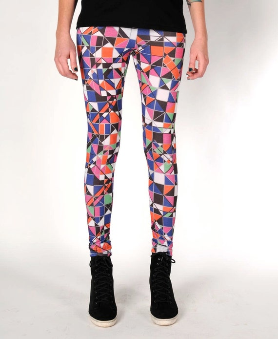 ECO friendly. BAMBOO leggings. Geometric pattern.  Mosaic in PINK shades. size s/m