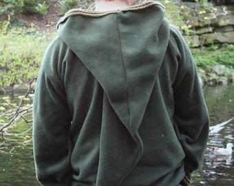 Medieval hoodie Green hippy- elven hoodie- Psy - SCA - festival rave hoody- pointy hood with Inkle trim - link hoodie