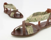 Vintage Liberty floral print,  leather hand made ladies sandal Euro size 41