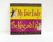 SALE Vintage LP My Fair Lady & The King and I, Yellow Purple Black, New World Theatre Orchestra, Mid Century Graphic Design