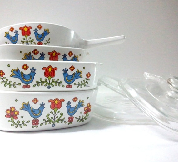 Corning Country Festival Dishes & Saucepans - CorningWare set of 4 Pans w/ Lids, 1975 CLEARANCE