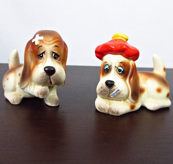 Vintage Salt & Pepper Shakers, Sad Sick Hound Dogs, Droopy, Kitsch, circa 50s 60s