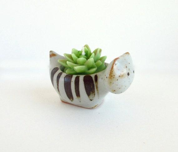 Vintage Ceramic Figurine, Tiny Cat Votive, Takahashi, Japanese Pottery, 1970s