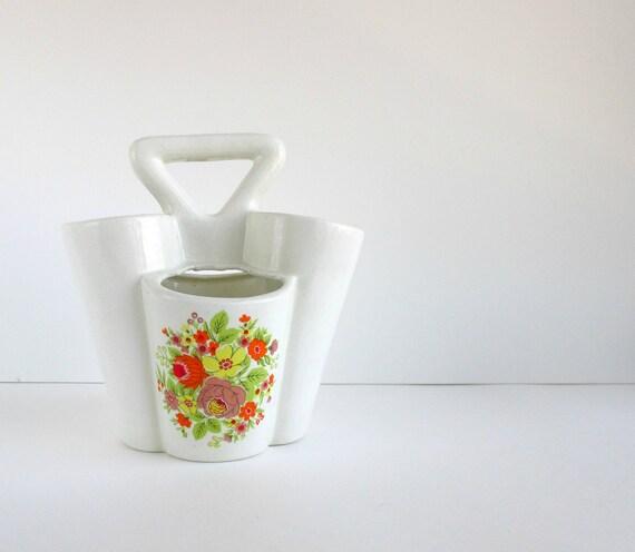 SALE Vintage Strawberry Pot, White Ceramic Planter w/ Handle, Cream, Off White, Flowers Motif