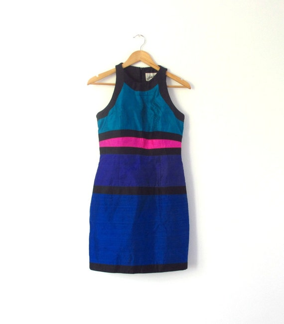 RESERVED until June 16th - Vintage Color Block Dress, 1980s Halter Mini in Teal, Pink, Blue, Black - Size 6/
