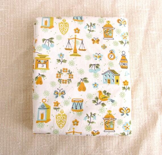"SALE Vintage Novelty Fabric, Mid Century Cotton Blend, 1950s, 1960s, 75"" x 35"""